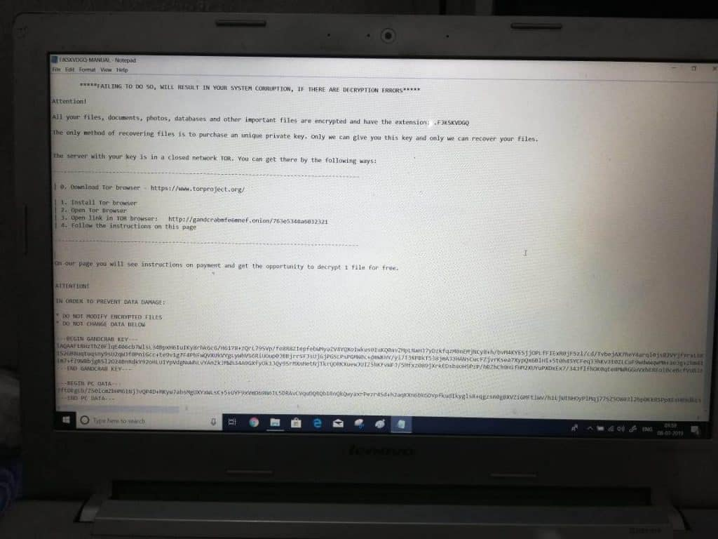 Ransomware readme message