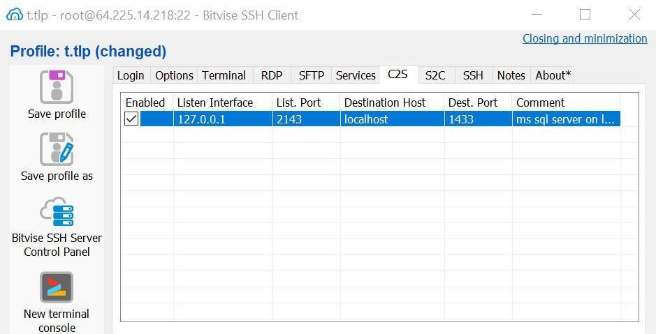 Configuration to setup SSH tunnel for MS SQL Server